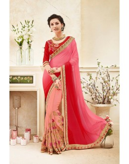 Festival Wear Half & Half Georgette Saree  - 82417