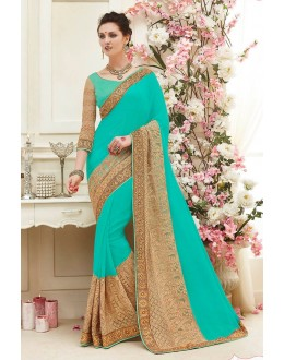 Wedding Wear Turquoise Georgette Saree  - 82419
