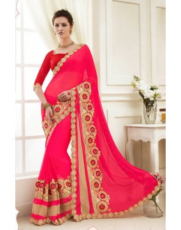 Wedding Wear Pink Georgette Saree  - 82421