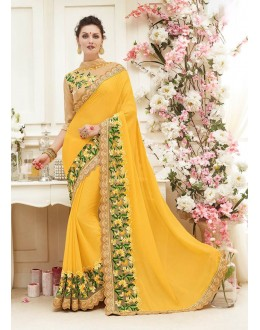 Party Wear Yellow Chiffon Saree  - 82422