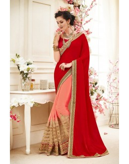 Georgettte Multi-Colour Half & Half Saree  - 82425
