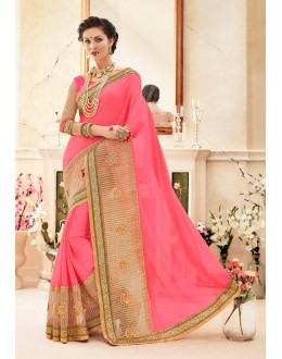 Festival Wear Pink Georgette Saree  - 82427