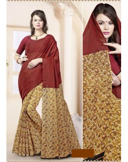 Ethnic Wear Maroon Cotton Saree  - 82467