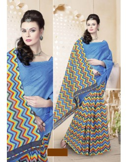 Blue Cotton Printed Saree  - 82477