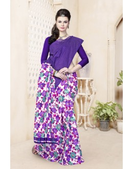 Cotton Purple Half & Half Saree  - 82478