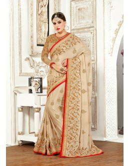 Wedding Wear Brown Chiffon Saree  - 82499