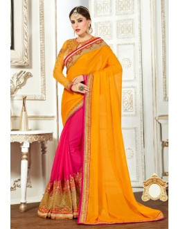 Chiffon Yellow & Pink Attractive Saree  - 82500