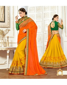 Ethnic Wear Orange & Yellow Pure Silk Saree  - 82501
