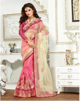 Festival Wear Cream & Pink Net Saree  - 82502