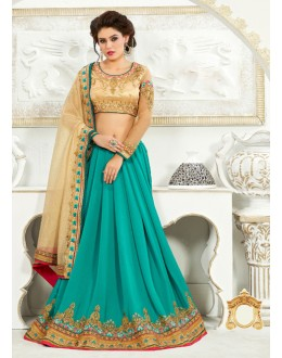 Lycra Beige & Green Attrative Saree  - 82503