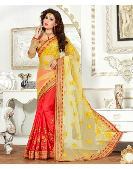 Chiffon Multi-Colour Half & Half Saree  - 82504