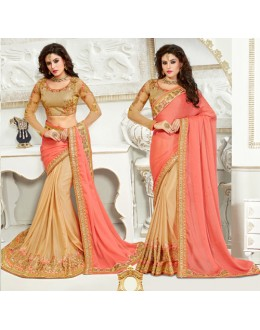 Party Wear Pink & Beige Chiffon Saree  - 82505