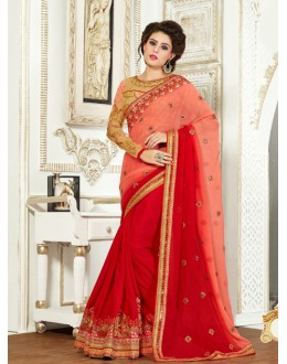 Party Wear Red Chiffon Saree  - 82506
