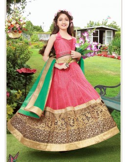 Kids Wear Beautiful Pink Net Lehenga Choli - 72766