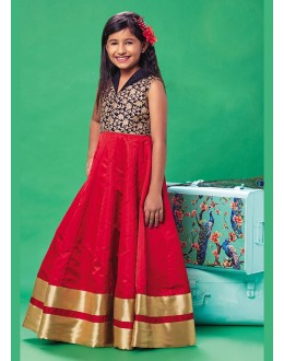 Kids Wear Readymade Red Silk Gown - 78925