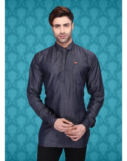 Ready-Made Party Wear Black Denim Kurta - 75486