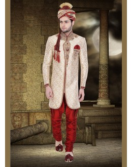 Wedding Wear Cream & Maroon Fancy Sherwani - 75490