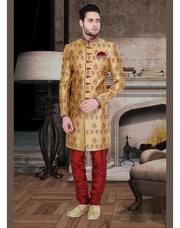Traditional Brown & Maroon Jacquard Sherwani - 75491