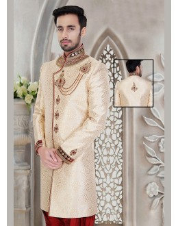 Wedding Wear Cream & Maroon Jacquard Sherwani - 75495