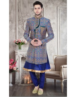 Traditional Navy Blue Brocade Sherwani - 75507