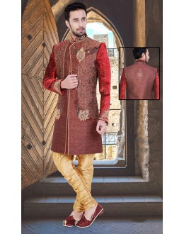 Wedding Wear Maroon & Beige Jute Sherwani - 75511