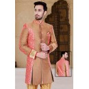 Ethnic Wear Brown & Beige Jacquard Sherwani - 75512