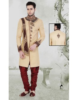 Wedding Wear Beoge & Maroon Khadi Sherwani - 75513