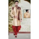 Wedding Wear Beige & Maroon Jute Sherwani - 75515