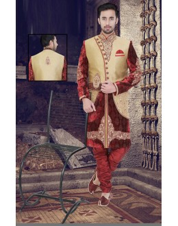 Wedding Wear Beige & Maroon Jute Sherwani - 75517