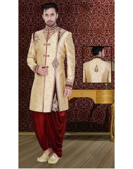 Wedding Wear Cream & Maroon Brocade Sherwani - 75527