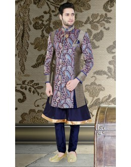 Ethnic Wear Navy Blue Brocade Sherwani - 75529