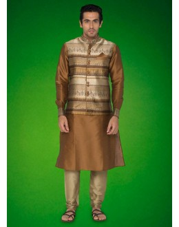 Wedding Wear Brown Indo Western Kurti With Jacket - 78724