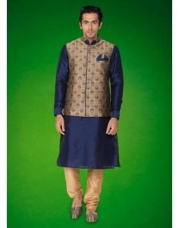 Festival Wear Navy Blue Indo Western Kurti With Jacket - 78725