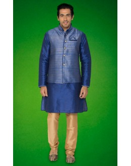 Traditional Navy Blue Indo Western Kurti With Jacket - 78721