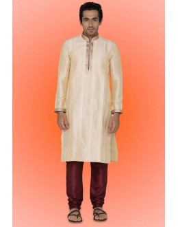 Ready-Made Festival Wear Cream Kurta & Pajama - 78729