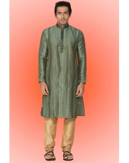 Ready-Made Ethinc Wear Green Kurta & Pajama - 78739