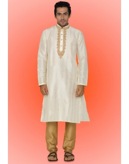 Ready-Made Festival Wear Orff White Kurta & Pajama - 78741