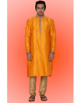 Ready-Made Festival Wear Orange Kurta & Pajama - 78743