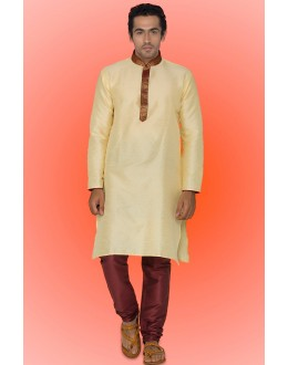 Ready-Made Festival Wear Cream Kurta & Pajama - 78745