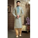 Ready-Made Ethnic Wear Grey Silk Kurta & Pajama - 78796