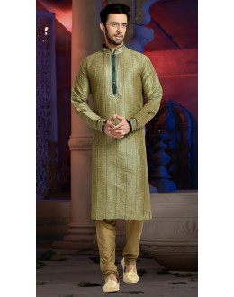Ready-Made Ethnic Wear Green Kurta & Pajama - 78800