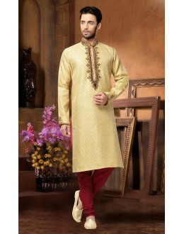 Ready-Made Wedding Wear Cream Kurta & Pajama - 78802