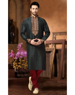 Ready-Made Festival Wear Green Kurta & Pajama - 78805