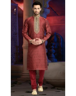 Ready-Made Wedding Wear Maroon Kurta & Pajama - 78806