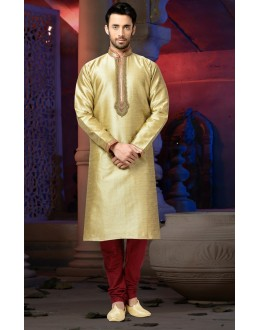Ready-Made Wedding Wear Cream Kurta & Pajama - 78808