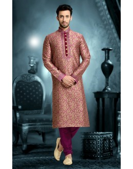 Ready-Made Wedding Wear Brown Kurta & Pajama - 78814