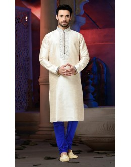 Ready-Made Festival Wear Cream Kurta & Pajama - 78821
