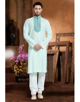 Ready-Made Ethnic Wear Green Kurta & Pajama - 78823