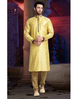 Ready-Made Ethnic Wear Yellow Kurta & Pajama - 78825