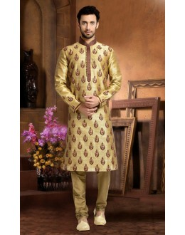 Ready-Made Wedding Wear Brown Kurta & Pajama - 78828